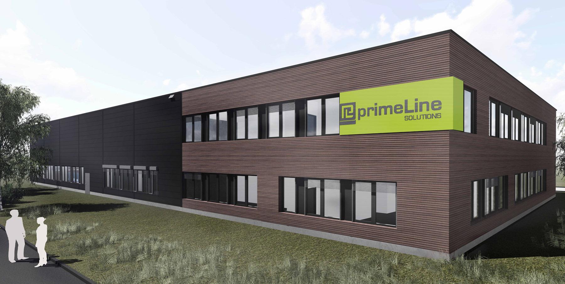 So soll das neue Gebäude der primeLine Unternehmensgruppe im Herbst diesen Jahres fertiggestellt werden