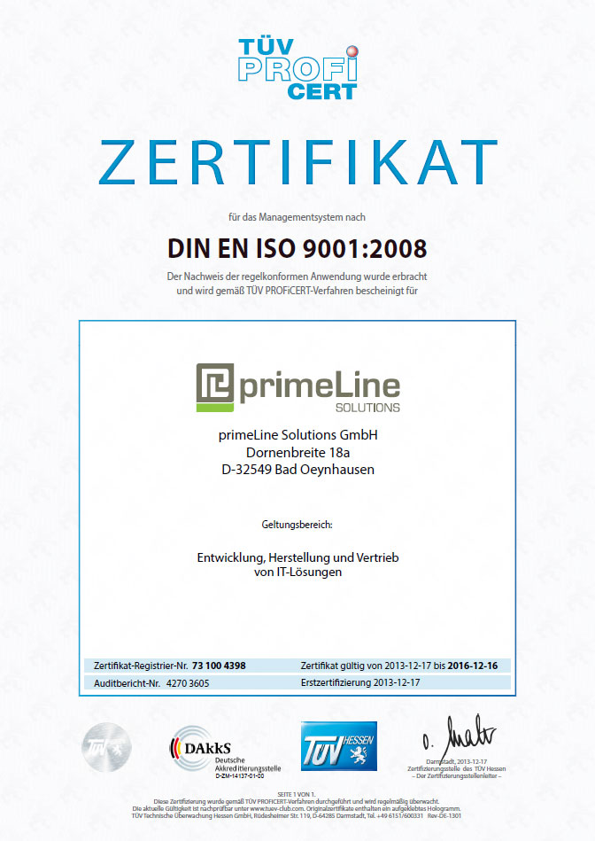ISO 9001 Zertifizierung - primeLine Solutions